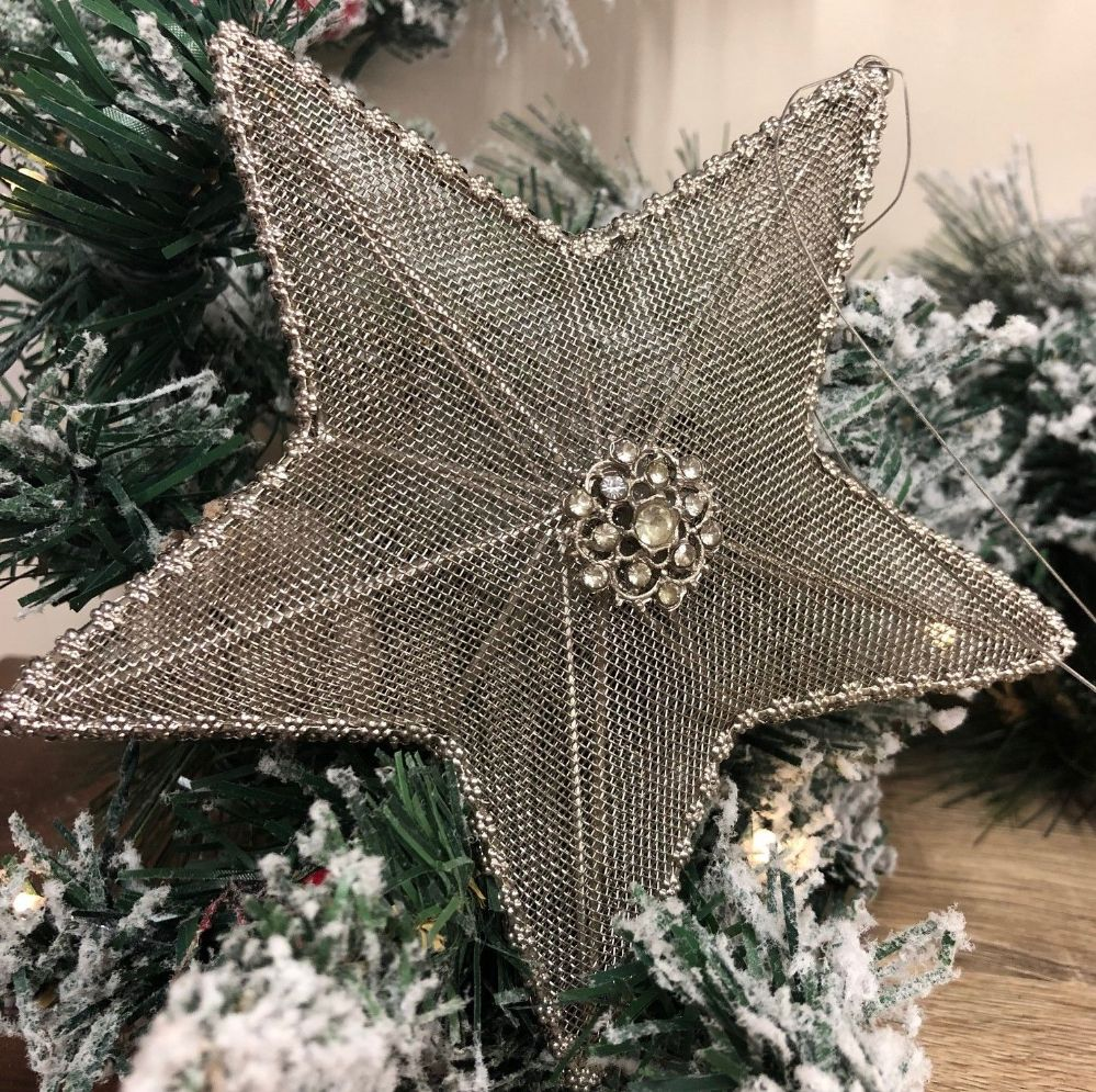 Embelished 15cm Mesh Hanging Star Silver Grey Christmas Tree Decoration